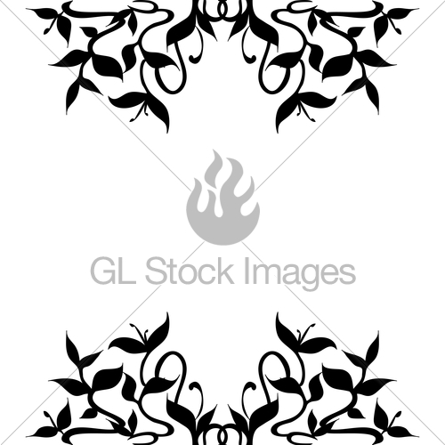 500x500 Plant Sprouts Black Silhouette For Frame Border Decoration Gl