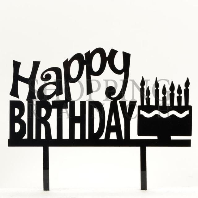 640x640 Black Happy Birthday Acrylic Cake Topper Celebration Decoration