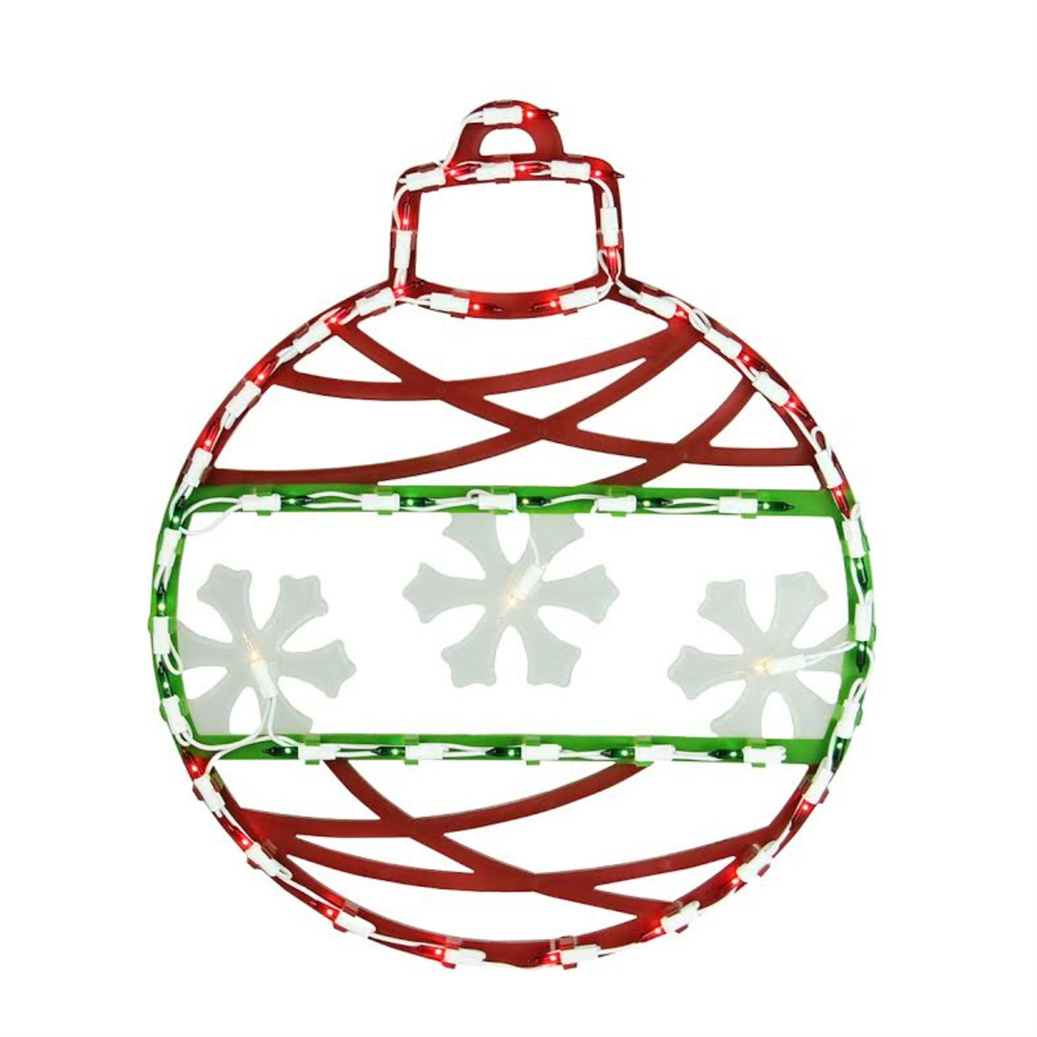 1500x1500 Red, Green Amp White Lighted Christmas Ornament Window Silhouette