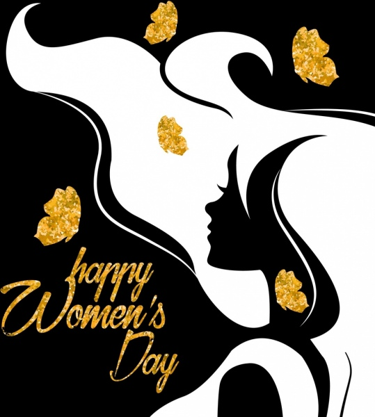 539x600 Woman Day Banner Woman Icon Glittering Silhouette Decoration Free