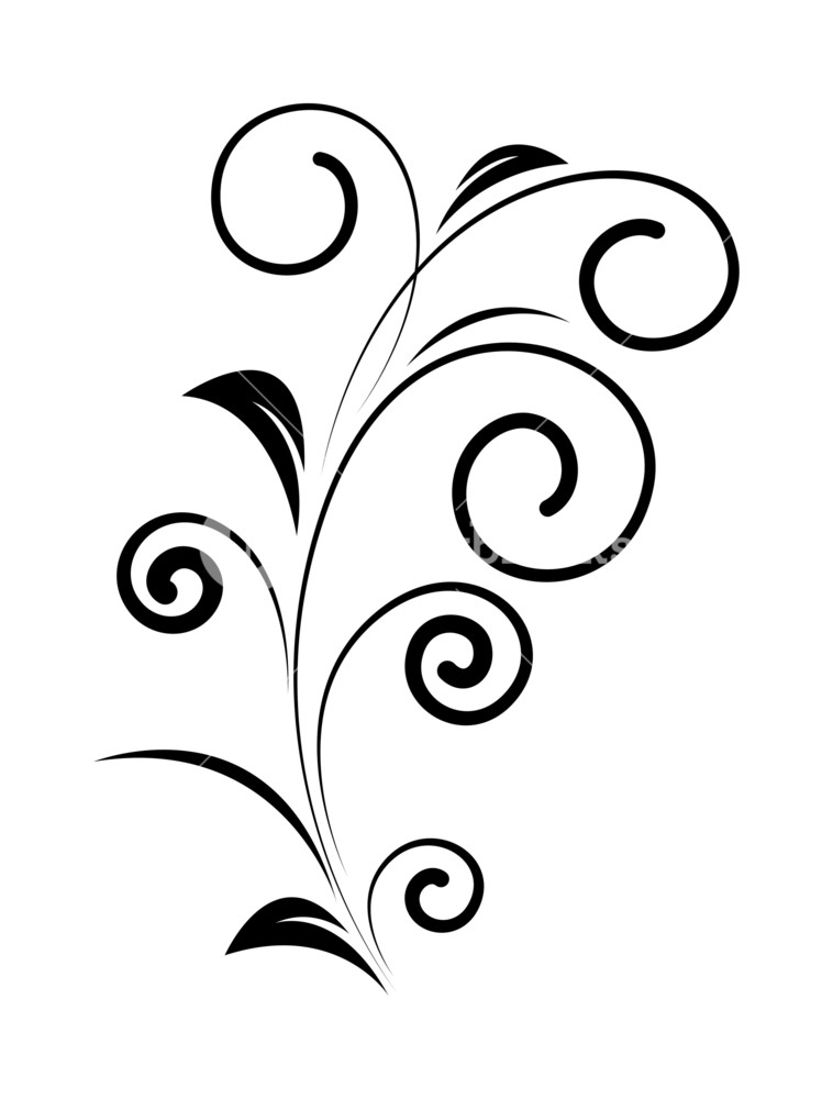 758x1000 Decorative Swirl Silhouette Royalty Free Stock Image