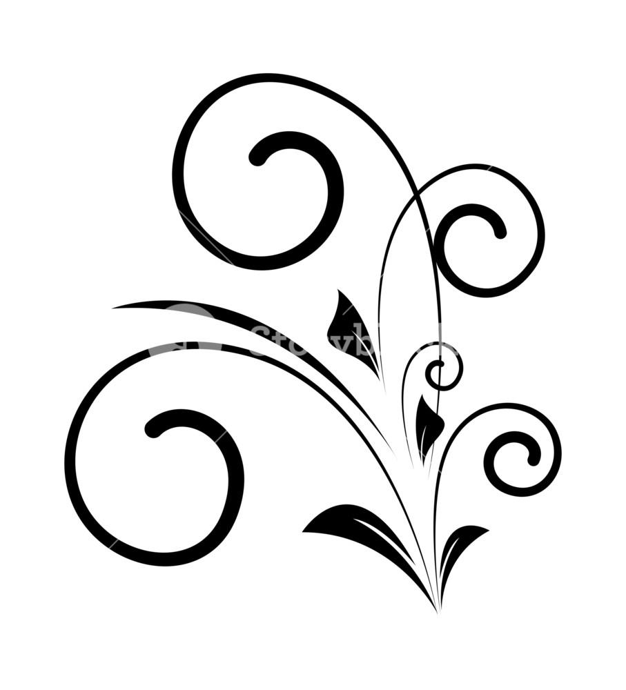 907x1000 Decorative Swirl Vector Silhouette Royalty Free Stock Image