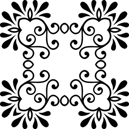 500x500 Vector Silhouette Flowery Decor Public Domain Vectors