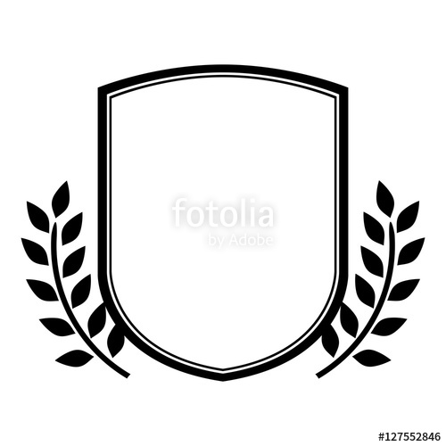 500x500 Black Emblem Silhouette Heraldic Decorative Frame With Leaves