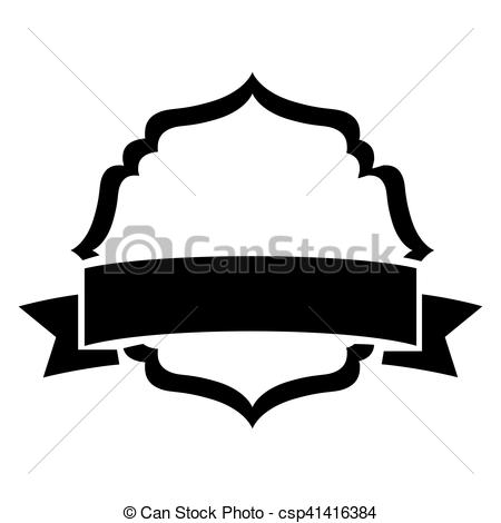 450x470 Black Silhouette Heraldic Decorative Frame With Label Vector