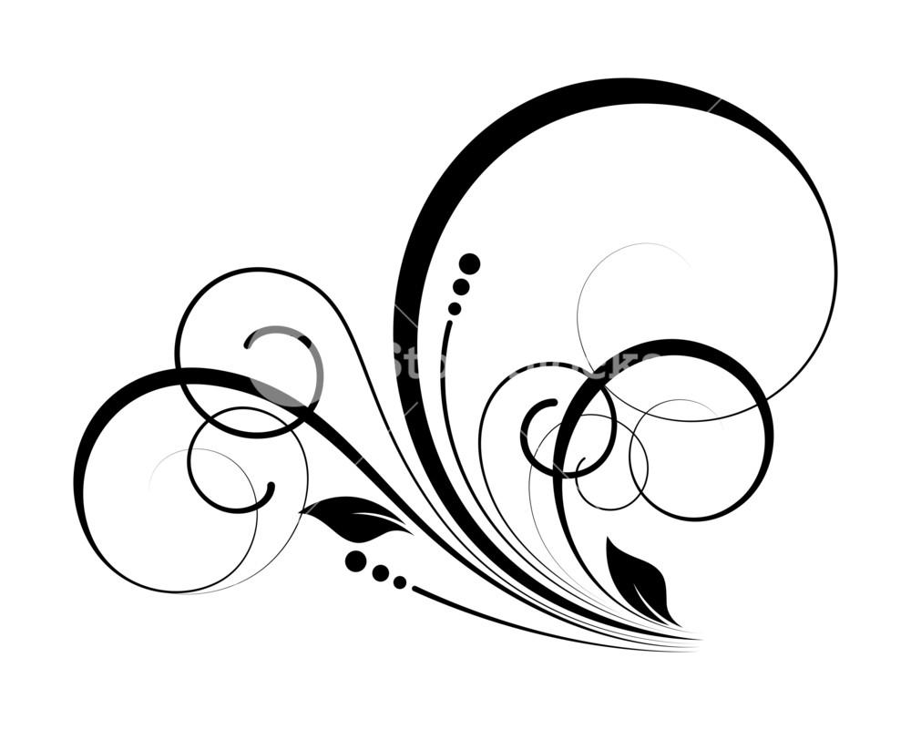 1000x801 Decorative Flourish Swirl Elements Silhouette Royalty Free Stock