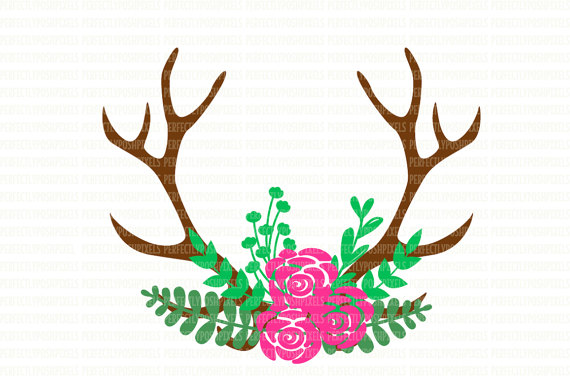 570x376 Antler Floral Swag Svg Silhouette Cameo Cricut Design Space Cut