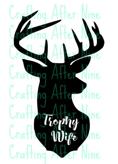 390x542 Trophy Wife Buck Silhouette, Deer Head, Trophy Wife With Antlers
