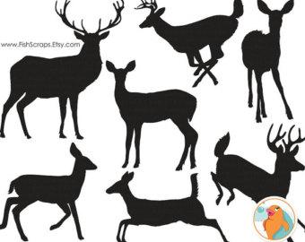 340x270 Full Body Reindeer Silhouette Clipart
