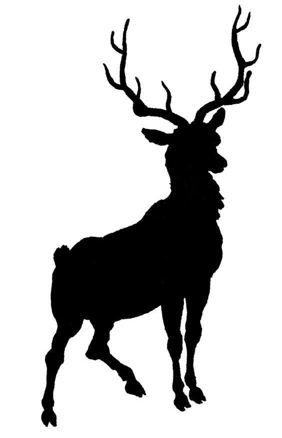 564x874 Deer Antler Head Silhouette Clipart Svg Free