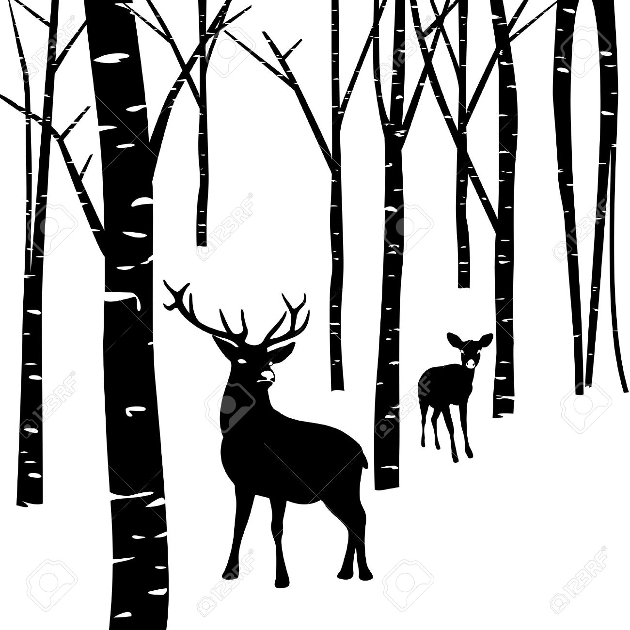 1300x1300 Deer In The Woods Clipart Silhouette