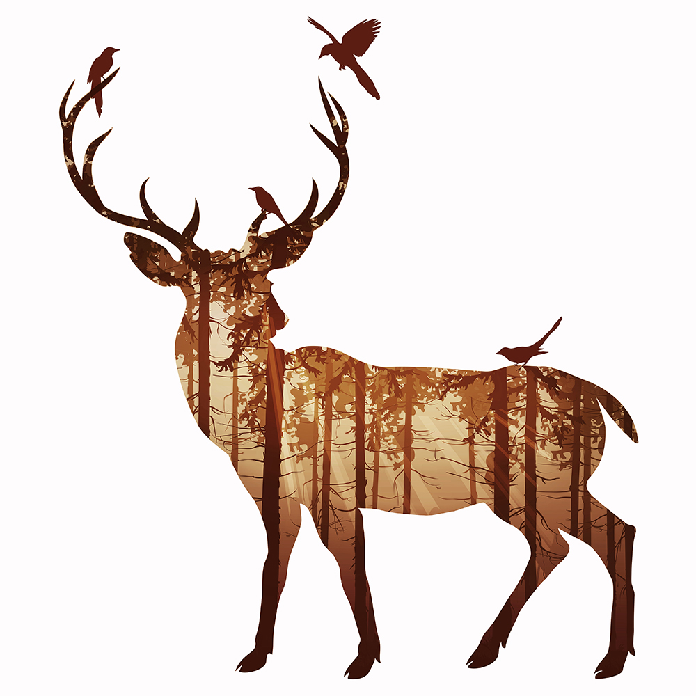 1000x1000 Free Shipping Silhouette Of Deer Family With Pine Forest Canvas