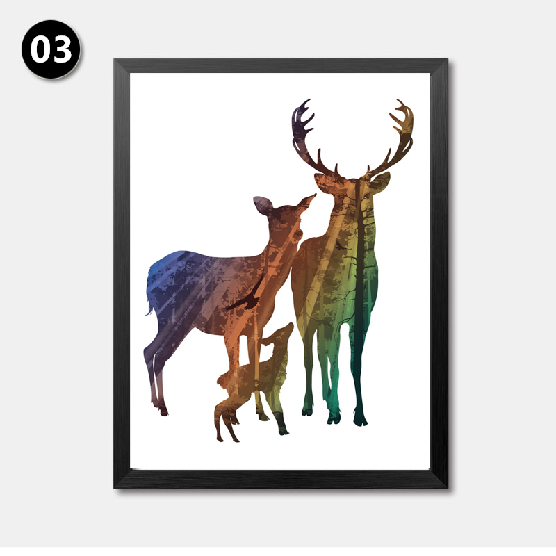 800x800 Silhouette Of Deer Family With Pine Forest Canvas Art Print