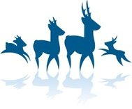 189x157 Deer Family Buck, Doe, Fawn Silhouette Background Premium Clipart