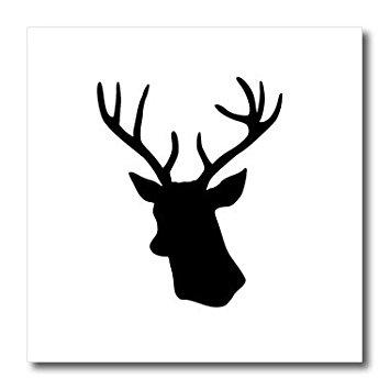 355x355 3drose Ht 179700 3 Black Deer Head Silhouette On White