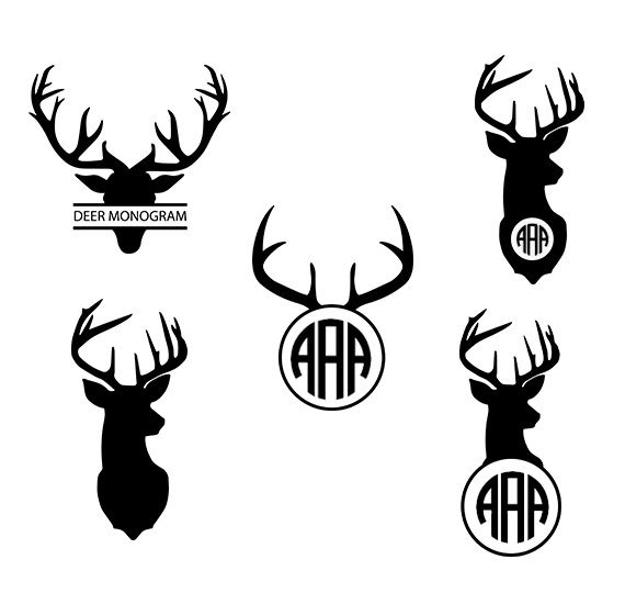 570x550 Deer Svg Deer Monogram Clipart Deer Head Silhouette