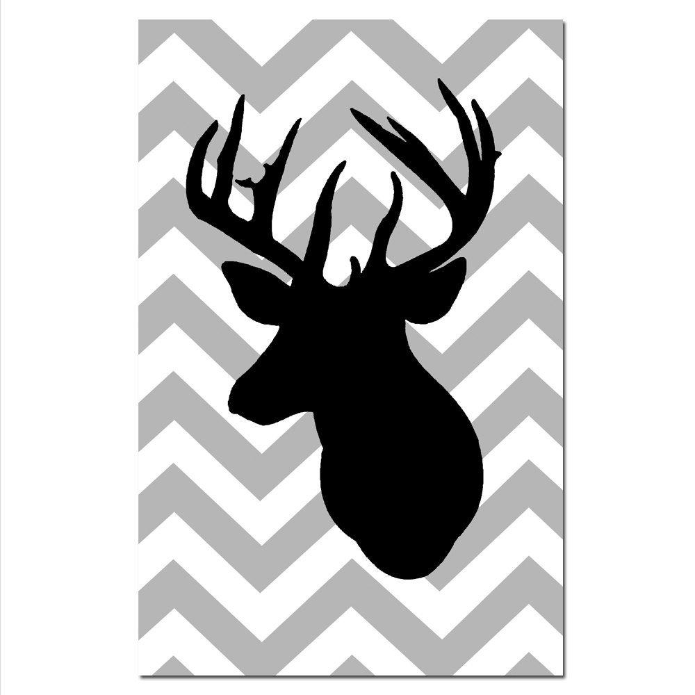 1000x1000 Large 11 X 17 Chevron Deer Silhouette Print