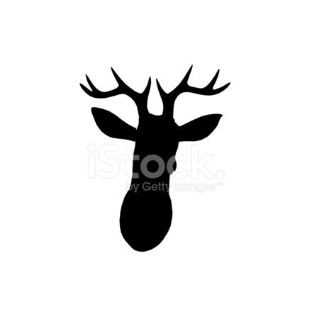 440x440 Black Deer Head Silhouette On White Background Stock Photos