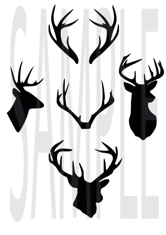 570x807 Deer Antler Monogram Clipart, Deer Head Silhouette Vector Files