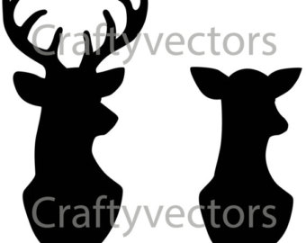 340x270 Doe Deer Head Clipart Black And White