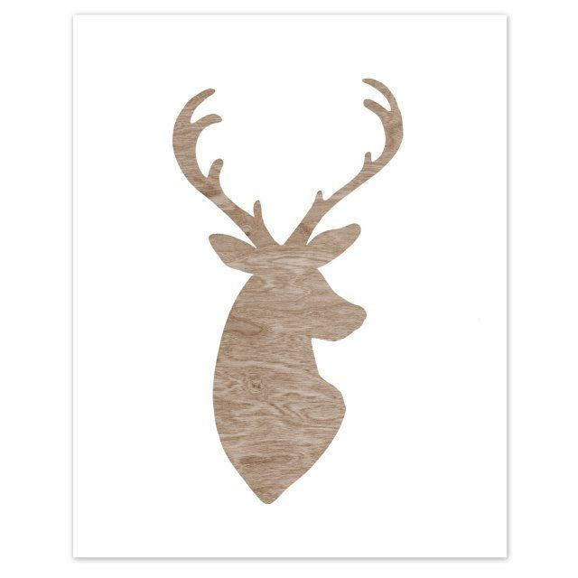 640x640 Woodgrain Faux Bois White Deer Head Silhouette By Blockpartyprints