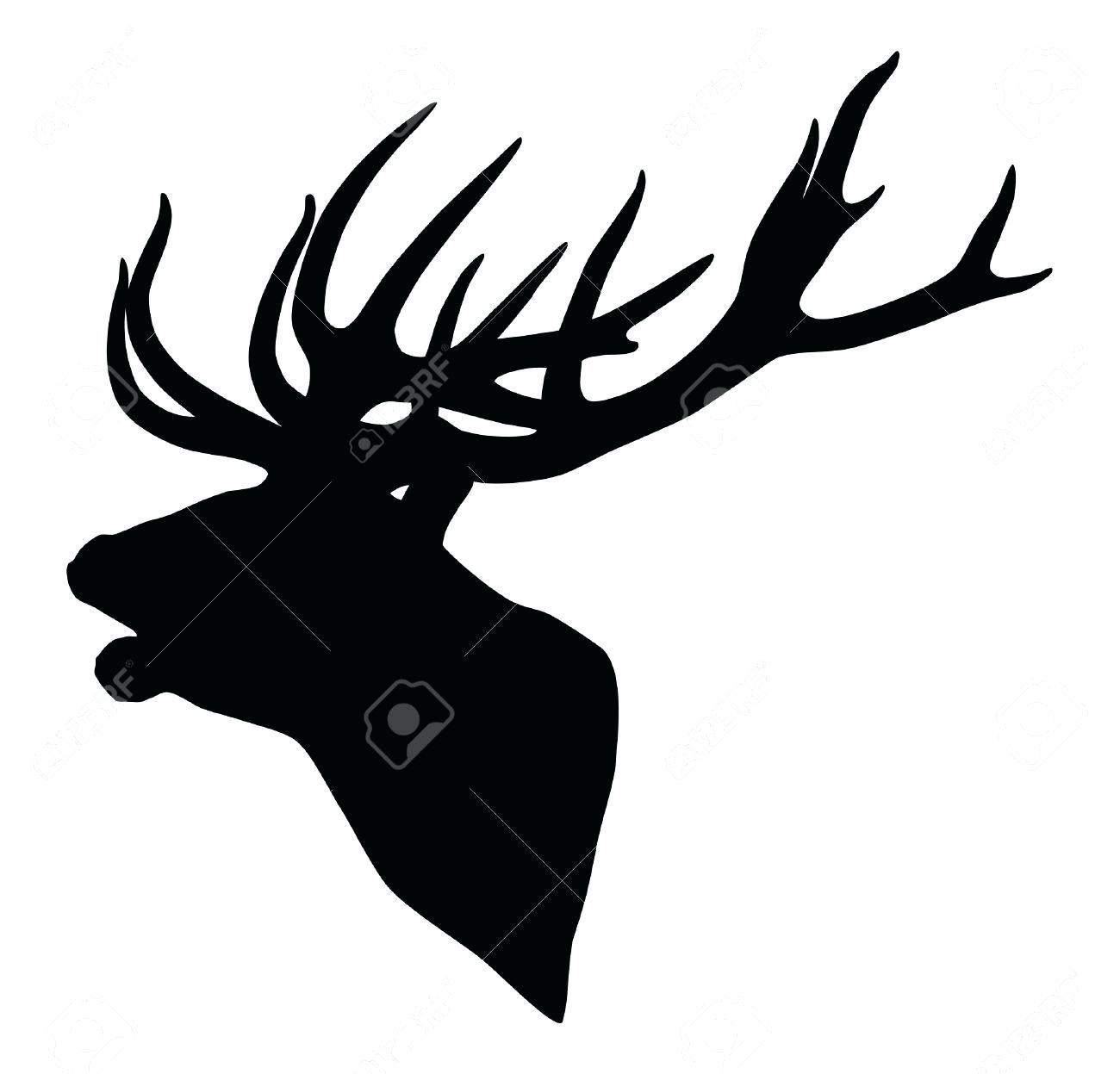 1300x1247 Reindeer Head Silhouette Template