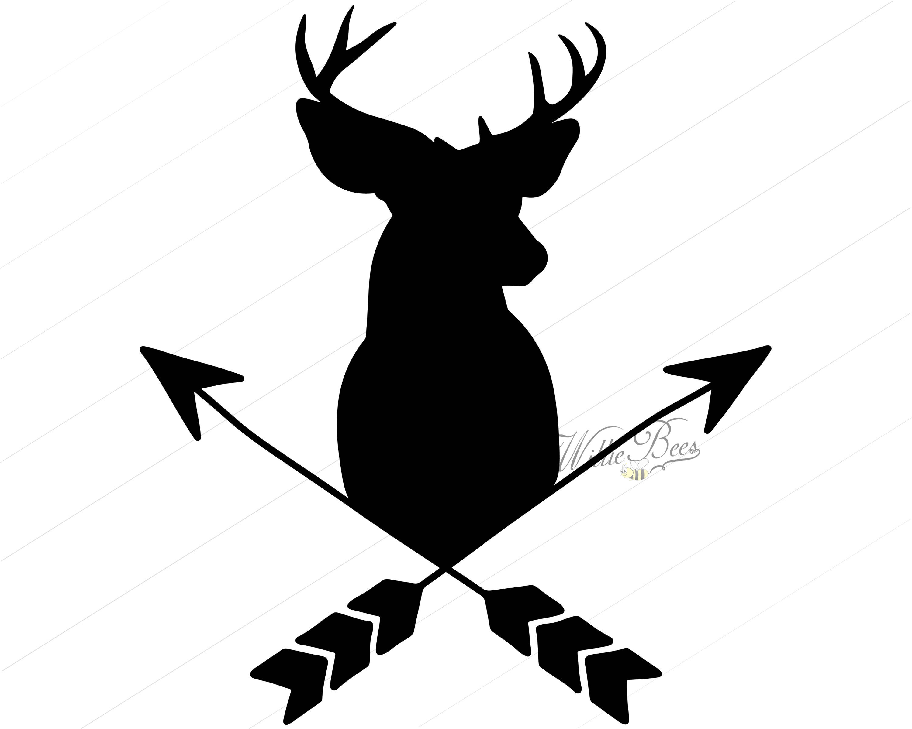 3000x2400 Deer Head With Arrows 12 Inches Png And Svg Silhouette Incredible