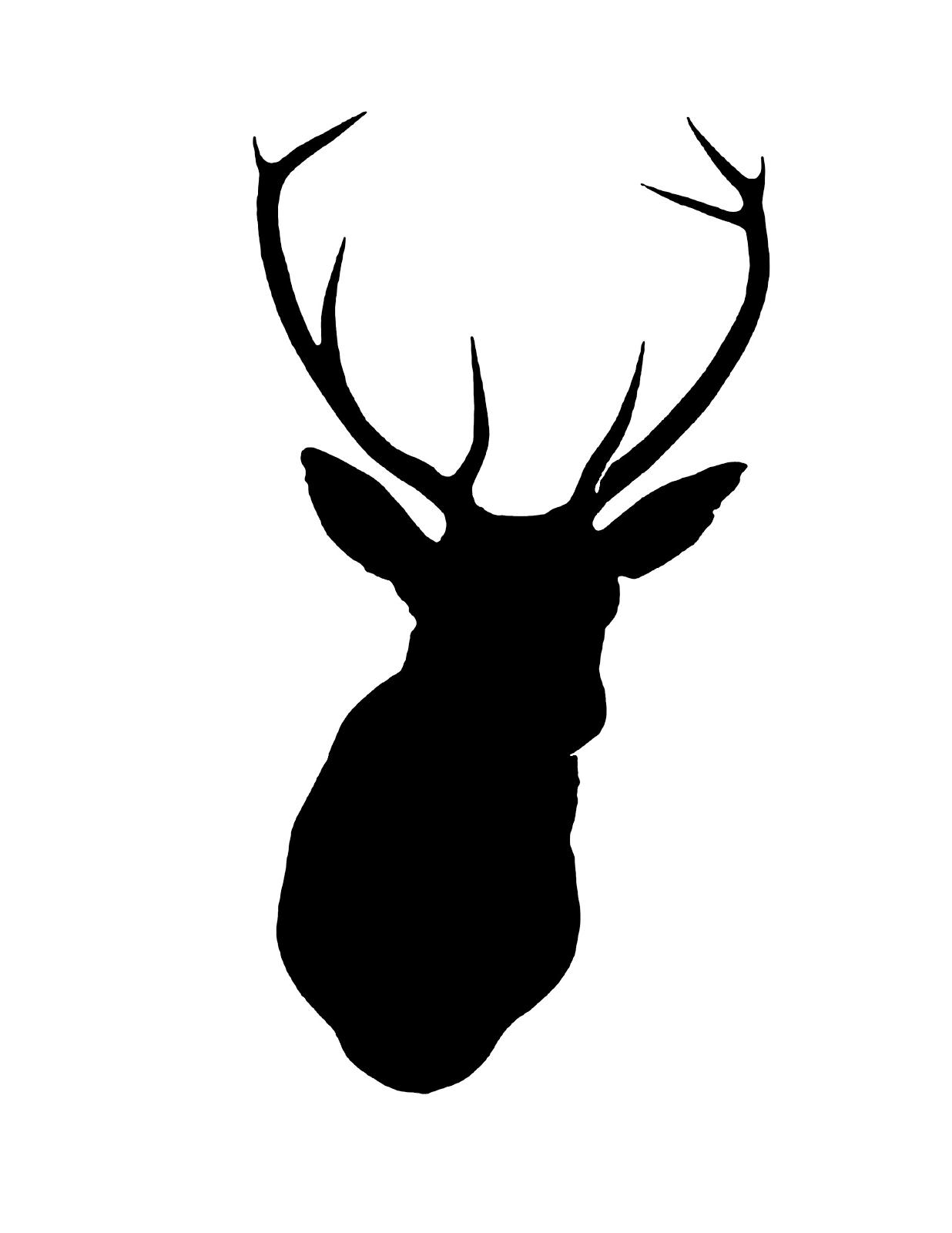This is an image of Witty Printable Deer Head Silhouette