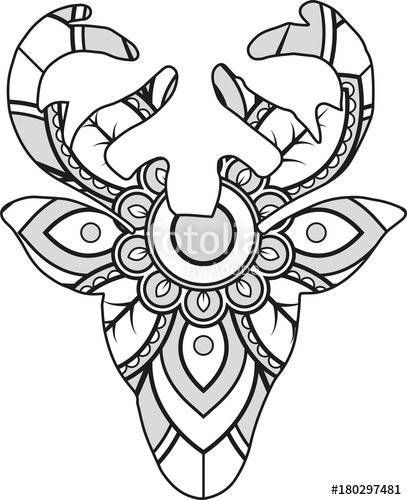 407x500 Vector Illustration Of A Mandala Deer Silhouette Stock Image