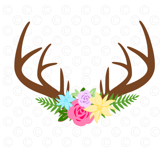 661x621 Freebie Friday. Deer Antler And Flower Svg Cut Files I Know It'S