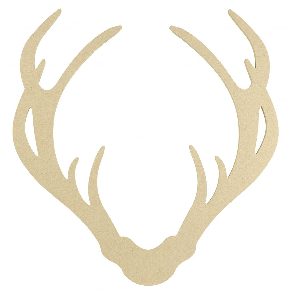 1000x1000 15 Decorative Wooden Deer Antler Silhouette Natural [Ab2338