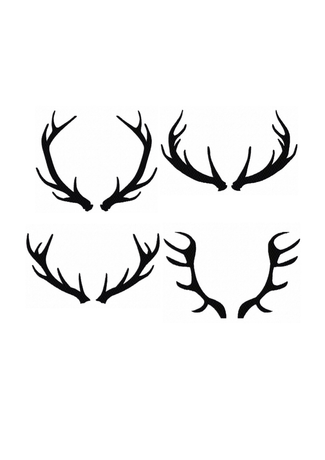 1060x1500 Set 4 Silhouette Buck Antlers Instant Download Pattern Fill