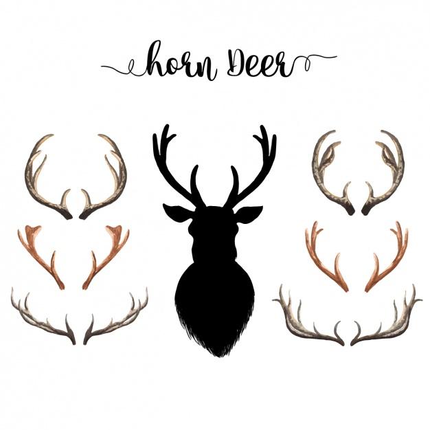 626x626 Watercolor Deer Horns Collection Vector Free Download