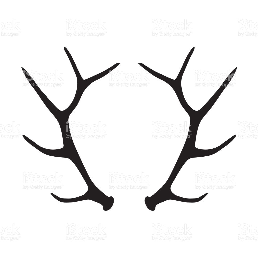 1024x1024 Black Silhouette Of Deer Antlers Stock Vector Art 827623316 Istock