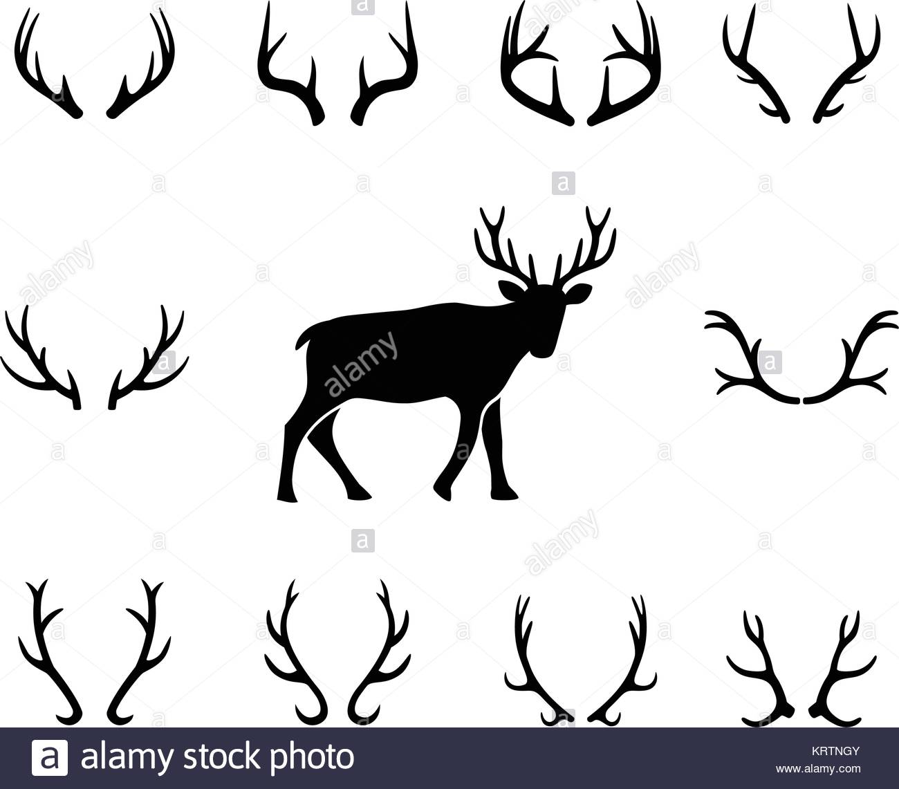 1300x1141 Black Silhouettes Of Different Deer Antlers, Vector Stock Vector