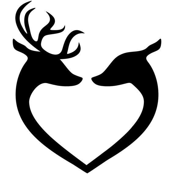 570x570 Deer Head Couple Silhouette Clip Art