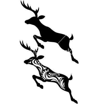 380x400 Deer Jumping Silhouette Vector Art