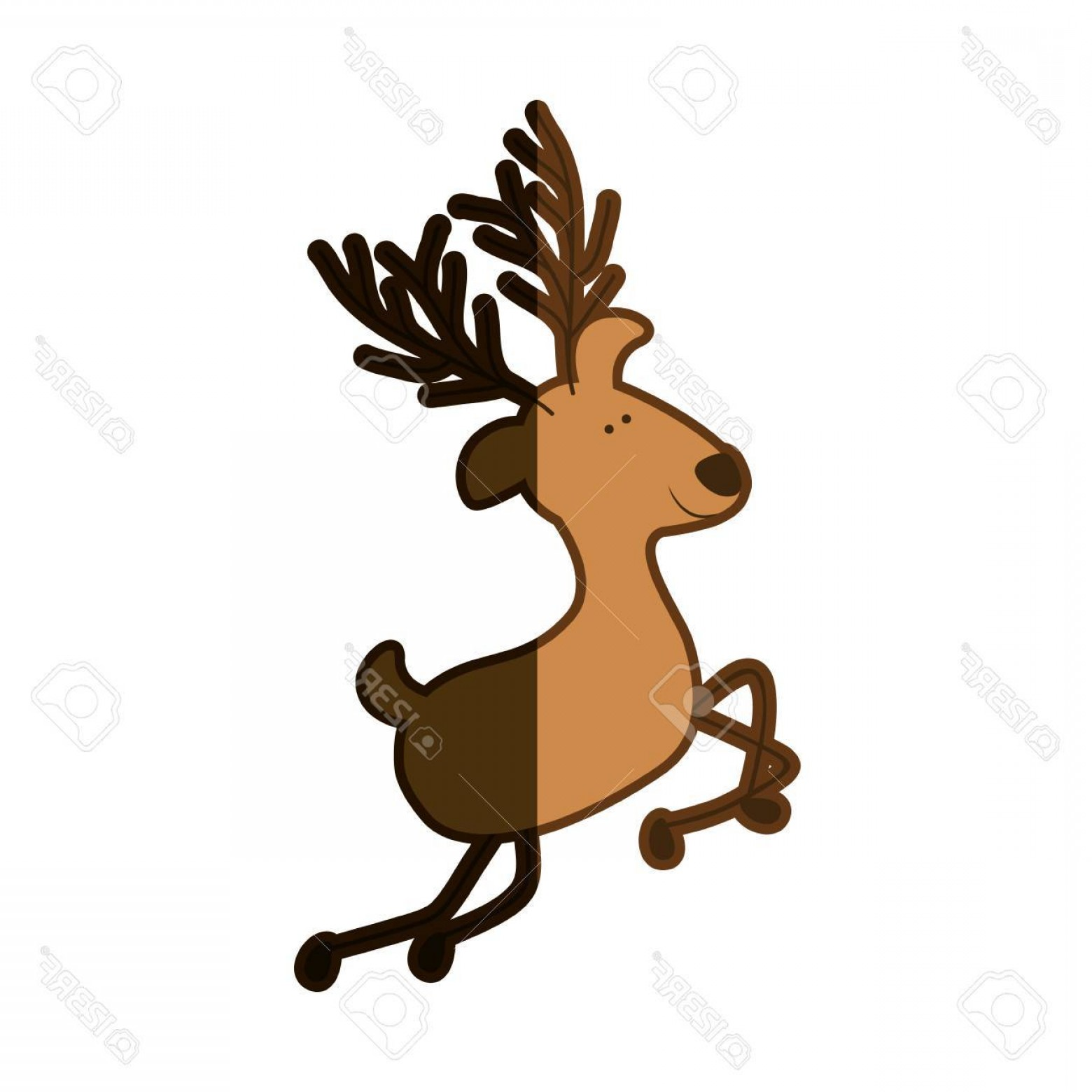 1560x1560 Photostock Vector Silhouette Caricature Color Of Reindeer Jumping