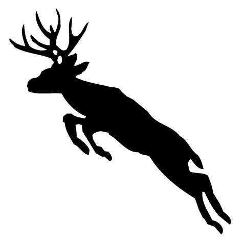 477x480 Deer Jumping Silhouette Decal Sticker