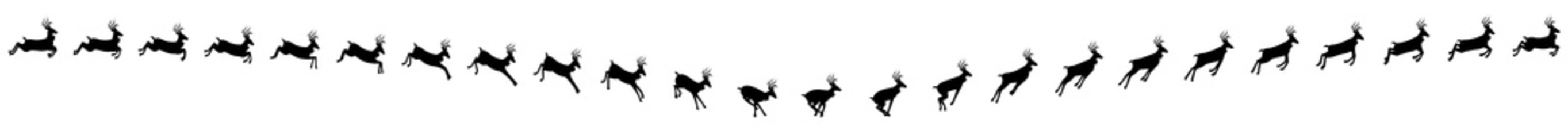 2727x240 Deer Running And Jumping Animation Sprite Sheets, Reindeer, Deer