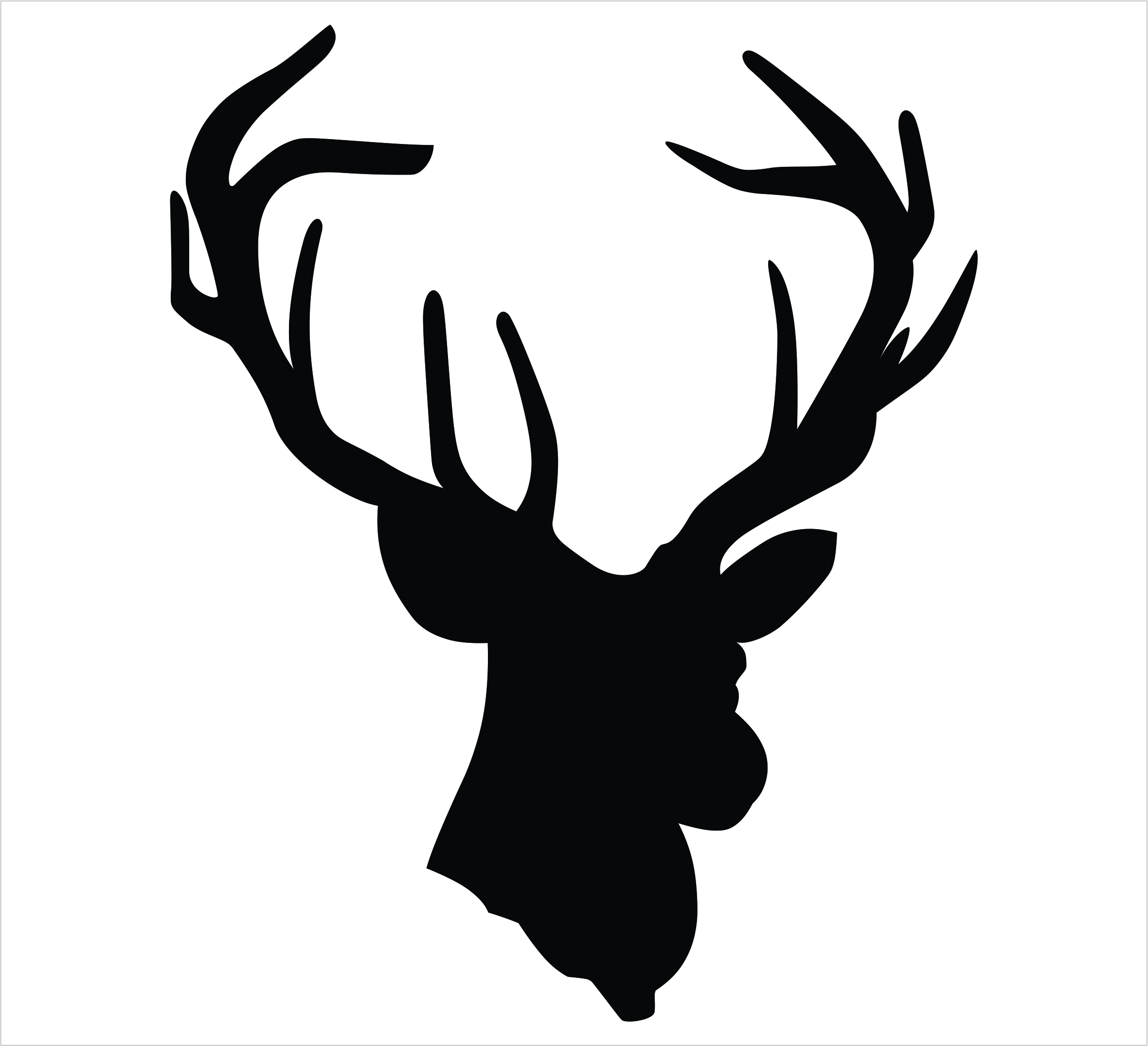 2360x2151 Deer Head With Antlers Silhouette Black Of Christmas Stunning