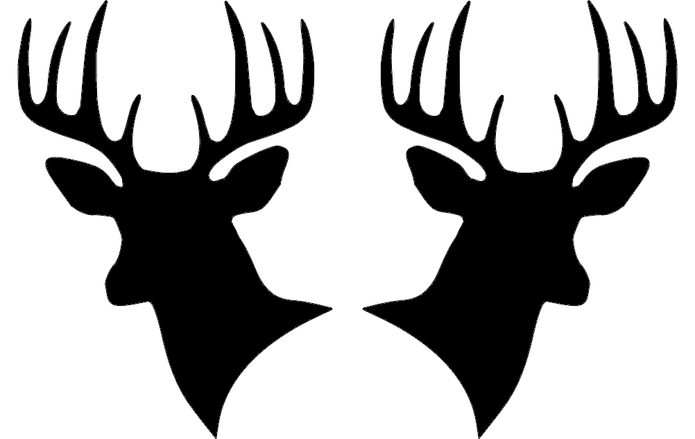 1002x633 Two Deer Heads Silhouette Dxf File Free Download