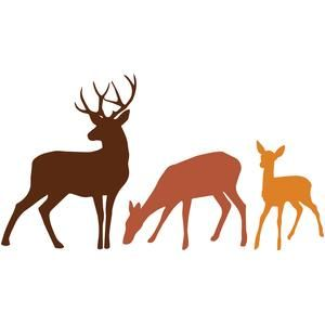 300x300 Deer Family Silhouettes Silhouette Design, Silhouettes And Deer