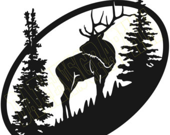 340x270 Deer Scene Dxf File For Cnc Plasma, Laser, Waterjet, Router