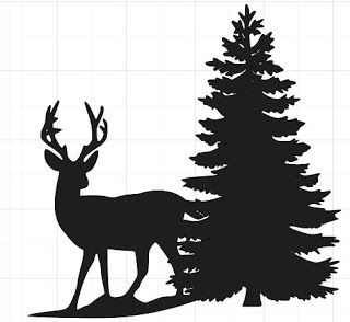 320x294 Happy2bscrappin' Deer Silhouette With Tree Templates, Freebies