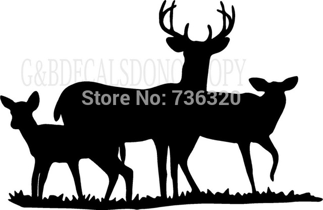 640x416 2015 New Arrival Tree Deers Wall Sticker Buck Doe Deer Family