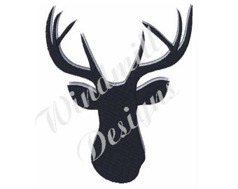 340x270 Deer Antlers Silhouette Stag Head Embroidery Design In 3 Sizes