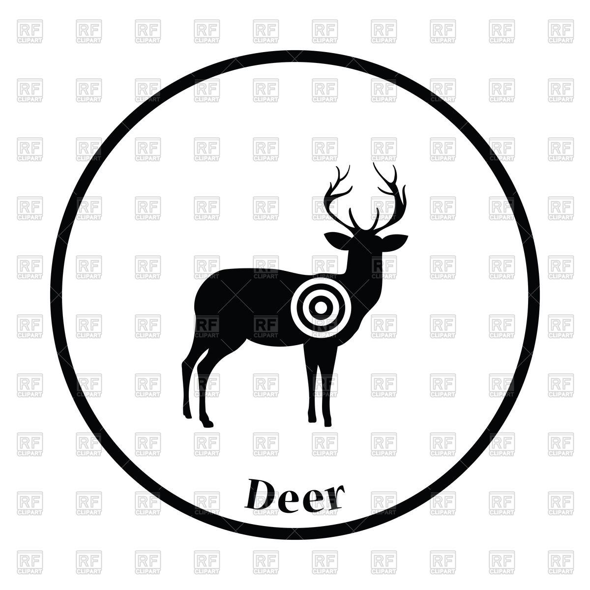 1200x1200 Deer Silhouette With Target Icon Royalty Free Vector Clip Art