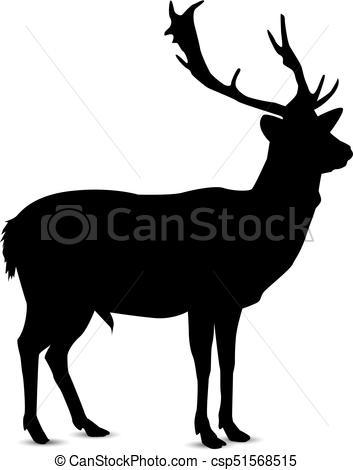 353x470 Silhouette Of Deer. Silhouette Of Looking Deer. Vector Clip Art