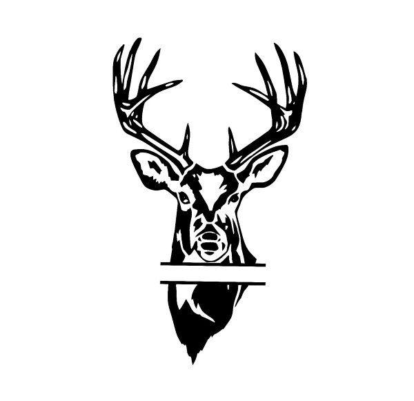 600x581 Split Monogram Deer Head Buck Head Design Svg By Ohthisdigitalfun